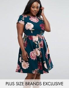 Платье миди с цветочным принтом Closet Plus - Мульти
