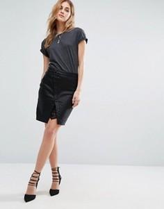 Мини-юбка из полиуретана с кружевной вставкой и пуговицами спереди Noisy May - Черный