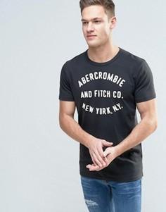 Узкая футболка с аппликацией логотипа Abercrombie & Fitch - Черный