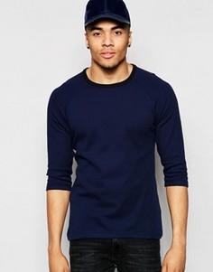 Облегающая футболка с рукавами 3/4 и контрастной отделкой ASOS - Синий