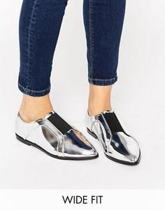 Остроносые туфли на плоской подошве для широкой стопы ASOS MIGHTY - Серебряный