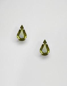 Серьги-гвоздики с кристаллами Swarovski Krystal - Зеленый