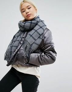 Oversize-шарф в клетку Pieces - Серый