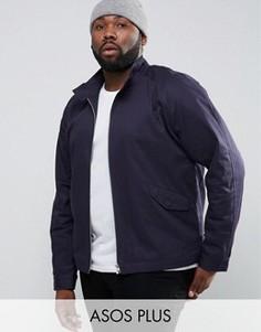 Темно-синяя куртка Харрингтон с воротником-стойкой ASOS PLUS - Темно-синий
