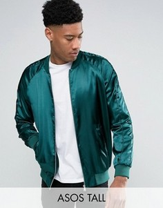 Зеленая сатиновая куртка-пилот ASOS TALL - Красный