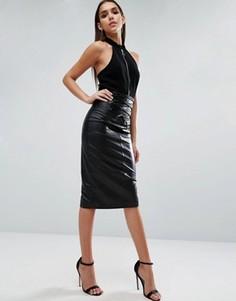 Кожаная юбка с завышенной талией и шнуровкой ASOS - Черный