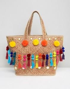 Соломенная сумка с помпонами и кисточками Glamorous - Мульти