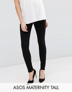 Черные джинсы скинни для беременных с поясом под животиком ASOS Maternity TALL Ridley - Черный