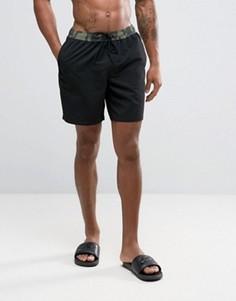 Шорты для плавания с камуфляжным принтом на талии ASOS - Черный