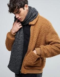 Вязаный шарф с узором косичка Esprit - Черный