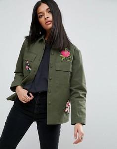 Рубашка в стиле милитари с цветочными нашивками ASOS - Мульти