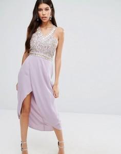 Платье миди с вышивкой и отделкой стразами на лифе Virgos Lounge - Фиолетовый