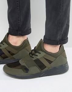 Кроссовки цвета хаки с камуфляжной вставкой ASOS - Зеленый