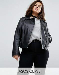 Кожаная байкерская куртка со стегаными вставками ASOS CURVE - Черный