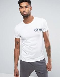 Белая футболка узкого кроя с круглым вырезом и принтом в стиле ретро Esprit - Белый