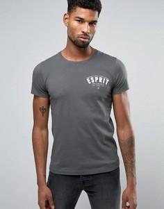 Темно-серая футболка узкого кроя с круглым вырезом и принтом в стиле ретро Esprit - Серый