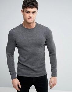 Серый меланжевый джемпер с круглым вырезом Esprit - Серый