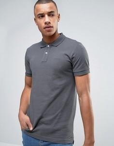 Темно-серая классическая футболка-поло узкого кроя из пике Esprit - Серый