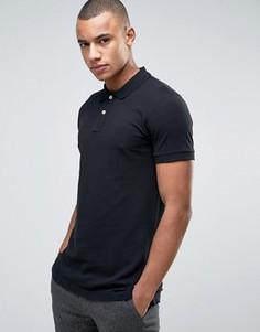 Черная узкая футболка-поло из пике Esprit - Черный
