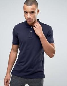 Темно-синяя узкая футболка-поло из пике Esprit - Темно-синий