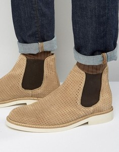 Замшевые ботинки челси с перфорацией Selected Homme Noah - Stone