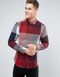 Хлопковая рубашка классического кроя в клетку Esprit - Красный