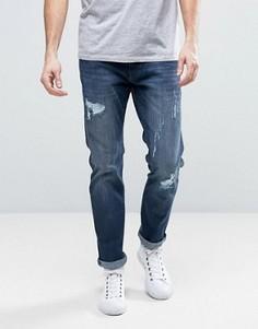 Свободные джинсы с потертостями Esprit - Синий