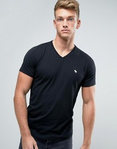 Черная обтягивающая футболка с V-образным вырезом Abercrombie & Fitch Core - Черный