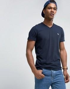 Темно-синяя обтягивающая футболка с V-образным вырезом Abercrombie & Fitch Core - Темно-синий