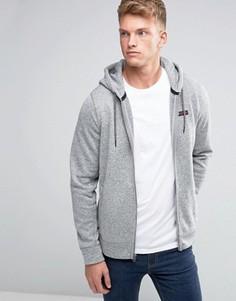 Серое худи на молнии с логотипом Abercrombie & Fitch - Серый