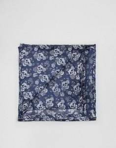 Жаккардовый платок для нагрудного кармана с принтом Noose & Monkey - Синий