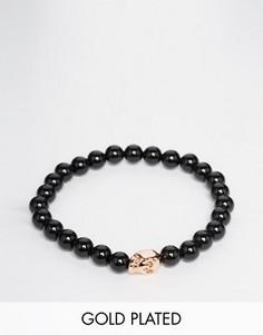 Браслет c бусинами из оникса и золотисто-розовым черепом Simon Carter - Черный