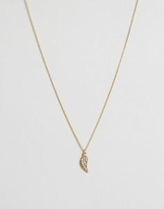 Ожерелье с подвеской в виде крыла и стразами Orelia - Золотой