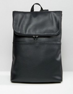 Рюкзак из искусственной кожи с откидным клапаном ASOS - Черный