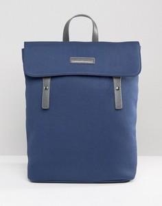 Парусиновый рюкзак с клапаном и кожаной отделкой Smith And Canova - Темно-синий