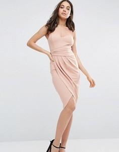Платье миди со складками сбоку City Goddess - Розовый