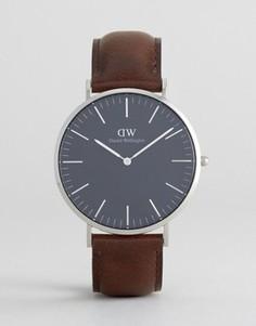 Классические часы с кожаным ремешком и серебристым циферблатом диаметром 40 мм Daniel Wellington Bristol - Коричневый