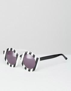Круглые солнцезащитные очки в полоску House of Holland Peggy - Черный