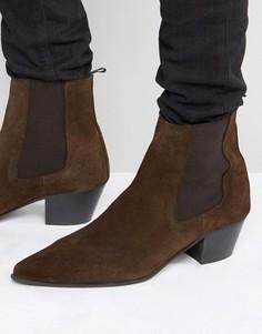 Коричневые замшевые ботинки челси на кубинском каблуке ASOS - Коричневый