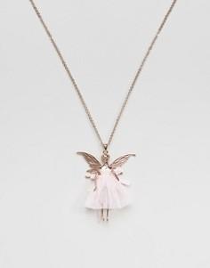 Ожерелье с подвеской в виде феи-балерины Ted Baker Titania - Розовый