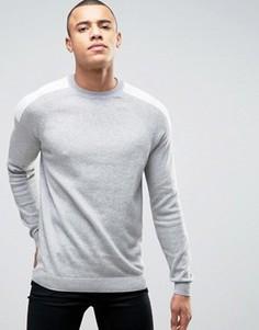 Серый джемпер с контрастными вставками на плечах New Look - Серый