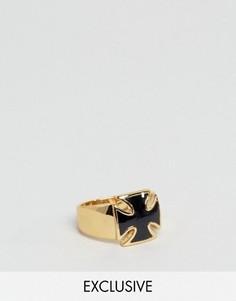 Кольцо с черным камнем-крестом Reclaimed Vintage - Золотой