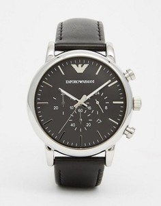 Часы-хронограф с кожаным ремешком Emporio Armani AR1828 - Черный