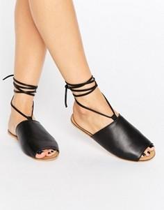Кожаные сандалии со шнуровкой ASOS FREED - Черный