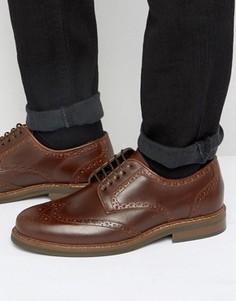 Коричневые кожаные броги ASOS - Коричневый