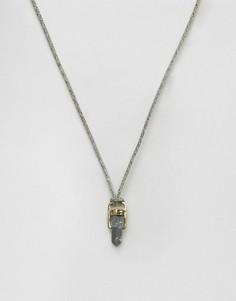 Серое ожерелье с подвеской-камнем Icon Brand - Серый