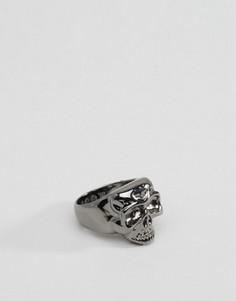 Кольцо с черепом цвета пушечной бронзы Icon Brand - Серебряный