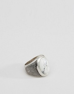 Серебристое кольцо с камнем Icon Brand - Серебряный