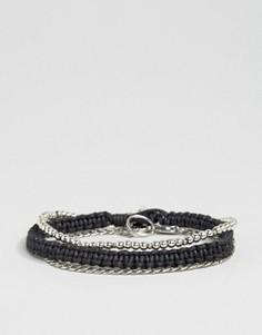 Набор браслетов с плетеной отделкой и цепочкой Icon Brand - Серебряный