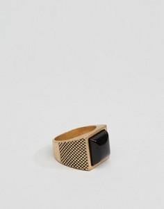 Золотистое кольцо с камнем Icon Brand - Золотой